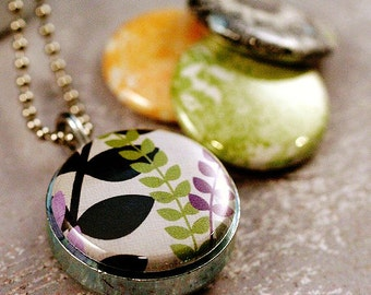 Funky Floral Magnetic Locket - Eco Friendly Mini Green Yellow Lilac Black Girl Gift Daughter Interchangeable Picture Locket by Polarity