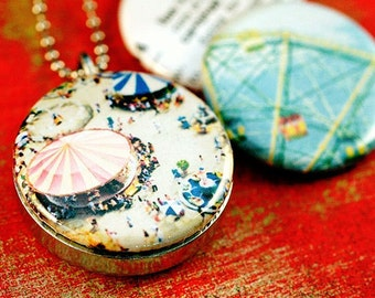 Ferris Wheel Locket, Carnival, Magnetic, Carousel, Silver Locket, Interchangeable, Coney Island, Recycled, Eco Friendly by Polarity & Depuis