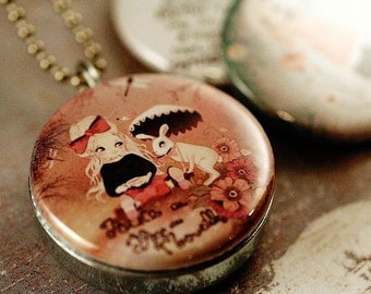 Alice in Wonderland Locket Necklace - Silver Steel Photo Locket Rabbit Girl Pink Gift Magnetic Locket Matilou Artwork - Upcycled by Polarity