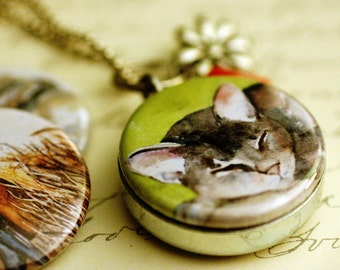 Cat Locket Necklace - Beaded Locket, Robin, Elephant, Magnetic Jewelry with 3 Interchangeable Lids by Polarity & Rachelle Levingston
