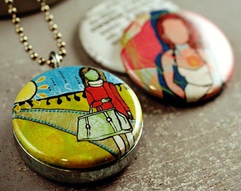Photo Locket Necklace, Gift for Her, Art by Jessica Gonacha Swift, 3 Pendants in 1, Necklace for Creative Friend, Recycled, Polarity