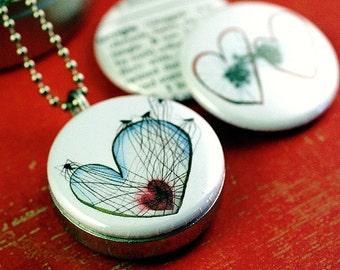 Tangled Heart Locket - Valentine Locket Necklace SpiderWeb Goth Gift Love Wedding Engagement Girlfriend Steel Metal - Gollybard by Polarity