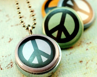 Peace Sign Necklace, Peace Jewelry, Peace Locket, 4 Necklaces in 1, Pastel Color Necklaces, Boho Gift for Her, Teen Girl Gift, Polarity