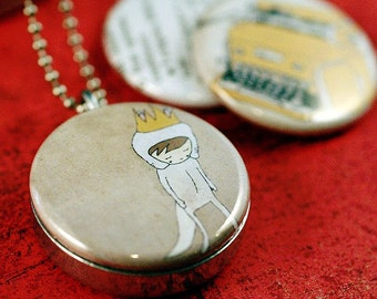 Locket Necklace - Nan Lawson, Typewriter, Believe, Cream Neutral, Magnetic, Eco Friendly, Silver Steel,  Polarity Locket