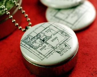 Architecture Gift, Architecture Locket, Design A House, Magnetic LOCKET, Architect Gift, Diagram, Designer, 3 in 1 Set, Recycled By Polarity