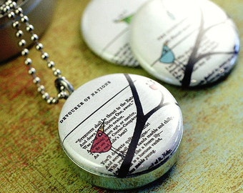 Birds on Branch Jewelry, Bird on Branch Locket, Bird on Branch Necklace, Magnetic, Recycled, Steel, 3 Necklaces in 1, Collage Book Art
