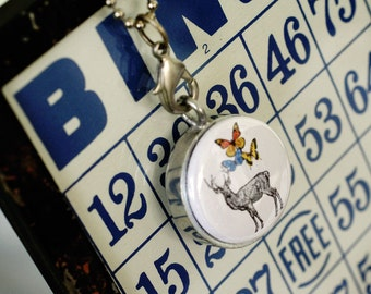 Best Friend Locket Necklace - Deer Locket - Butterflies, Magnetic, Interchangeable, Polarity