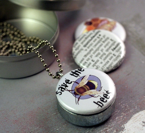 SAVE THE BEES Honey Recycled Magnetic LOCKET SET By Polarity SALE FREE GIFT