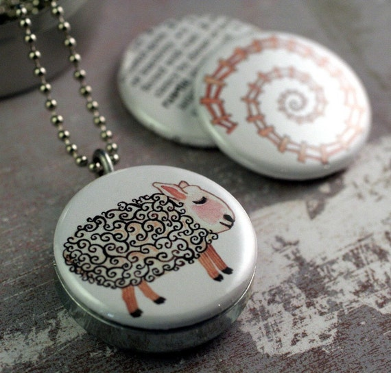 Rustic GOLLYBARD North Country Lamb and Spiral Fence Recycled Magnetic LOCKET SET By Polarity