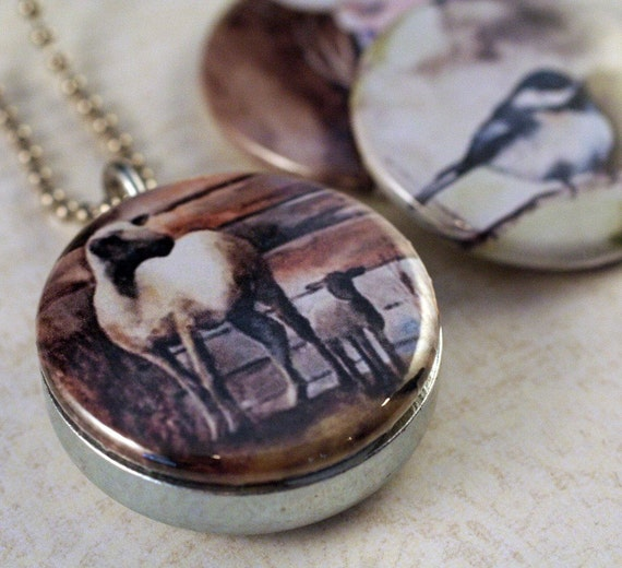 Sheep Jewelry, Sheep Locket Necklace, Gift for Her, Rural Americana, Mom and Baby Lamb, Burnt Sienna, Magnetic, 3 Lockets in 1, Polarity