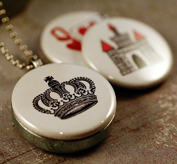 Queen Jewelry, Queen Necklace Locket, Crown Necklace, Queen of Hearts, Castle Locket, Gift for Queen BEE, Magnetic, 3 in 1, Recycled Steel
