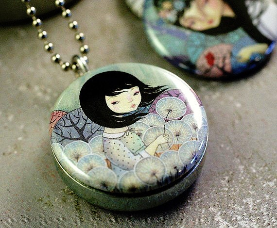 Dandelion Picture Locket, Girls Making Wishes, Dilkabear Artwork,  Fantasy Necklace, Magnetic and Eco Friendly By Polarity