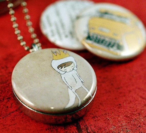 Locket Necklace - Nan Lawson, Typewriter, Believe, Cream Neutral, Magnetic, Eco Friendly, Silver Steel,  Polarity Locket