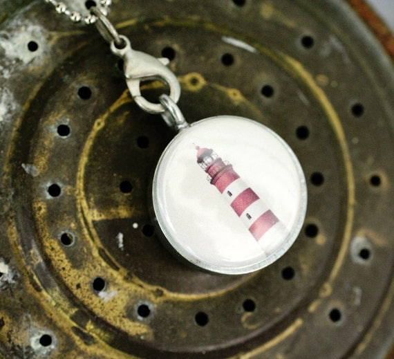Lighthouse Locket Necklace -  Ship, Anchor Nautical Magnetic Necklace Beach Vacation Maine Cape Cod Travel Seashore - Upcycled by Polarity
