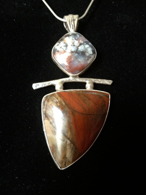 Red Jasper and Sterling Silver Pendant - Fine Art Jewelry