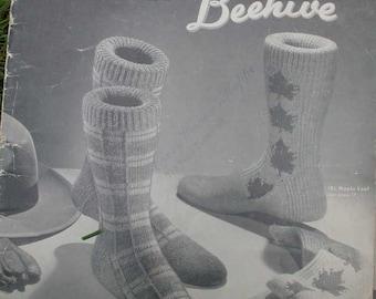 Vintage Beehive Socks Knitting Pattern Book