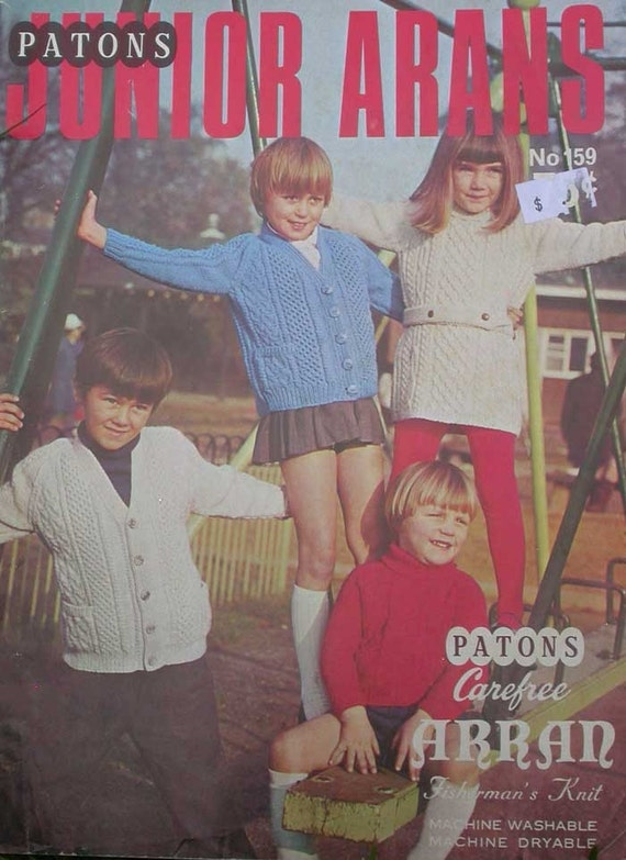 Vintage Patons Junior Arans Sweater Knitting Pattern  Book