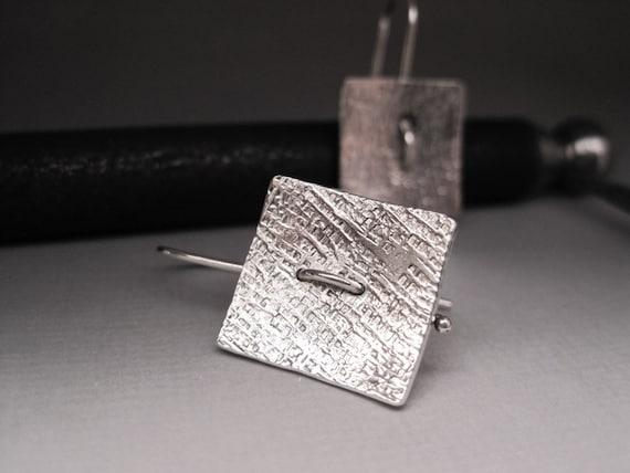 Sterling Silver Stitch Earrings