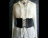 "5 1/2"" Gothic Victorian Leather and Lace Corset Belt  --- Large"