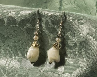 Chunky Mother Of Pearl earrings in creamy white with sterling silver - great for Holiday gift giving