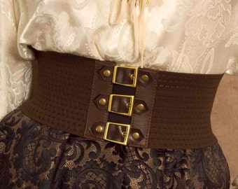 Brown Steampunk / Pirate Buckle belt, great for cosplay and costume parties - Perfect for Kids too! Size Med