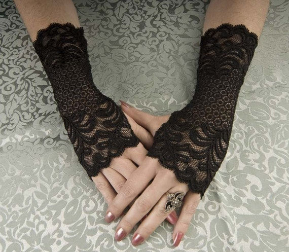 "Size Small Steampunk / Goth / EGL Beautiful 8"" long Black lace fingerless glove wristlettes"