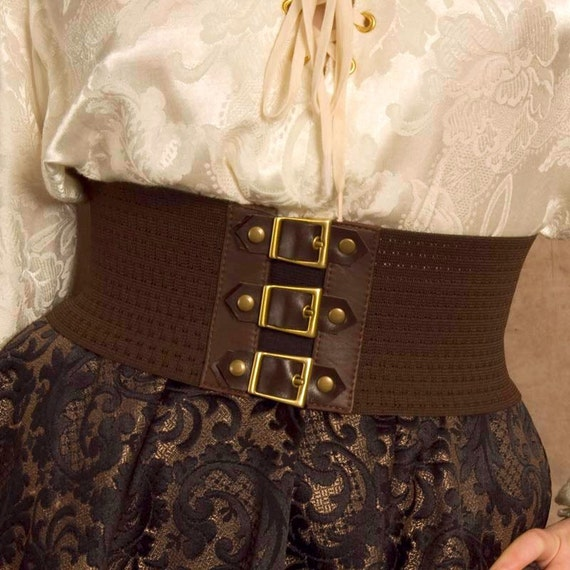 Brown Steampunk / Pirate Buckle belt, Great for Halloween - Size SMALL Perfect for Kids too! Ready to Ship!