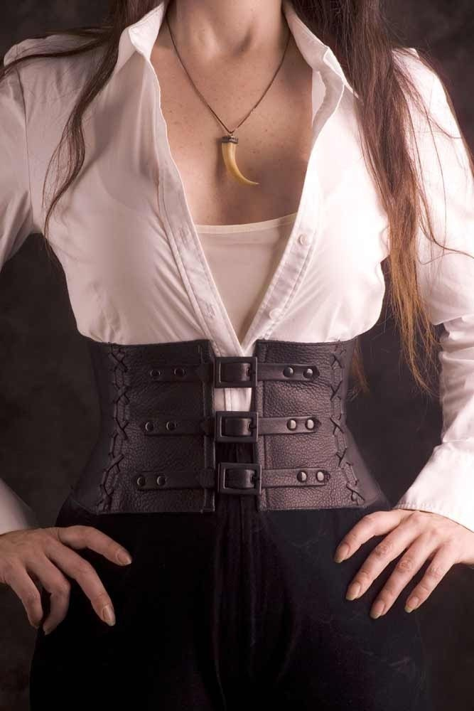 Exquisite Black Leather Corset Belt / Waist Cincher custom