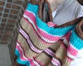 Pink, Aqua, and Brown Striped Girls Knit Purse
