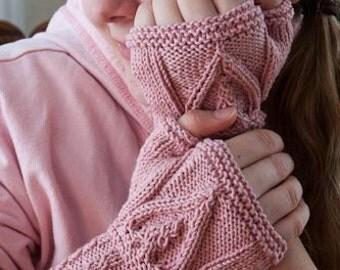 Pink Celtic Heart Knit Fingerless Gloves for Women