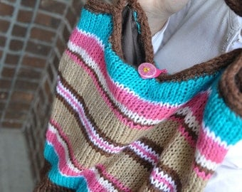 Pink, Aqua, and Brown Striped Girls Knit Purse