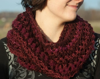 Dark Red Lacy Knit Infinity Scarf for Women