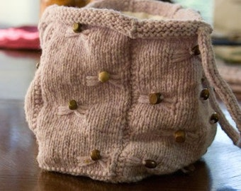 Lavender Beaded Knit Purse for Women