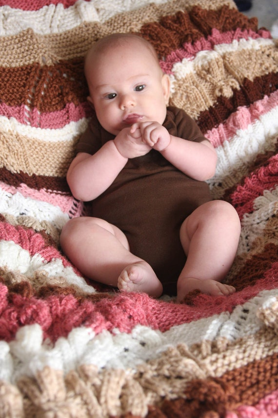 Brown and Pink Flowers in Spring Knit Blanket