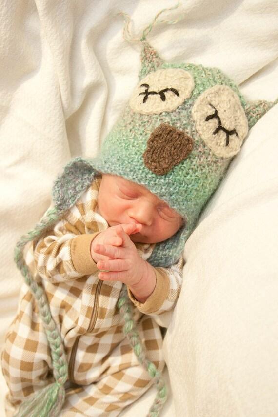 Green Sherbet Baby Owl Hat - Newborn