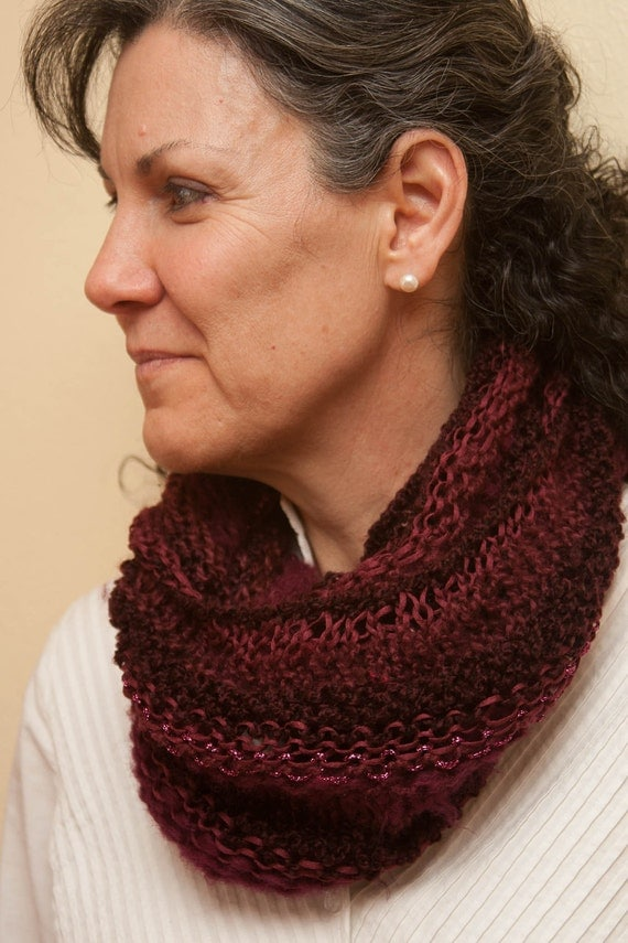 Dark Red Lacy Knit infinity Scarf