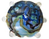 Opalino and Dark Transparent Blue Handmade Lampwork Lentil Focal with Twistie, Double Helix Designs and Lg Raised Dots ISGB, LE, SRA