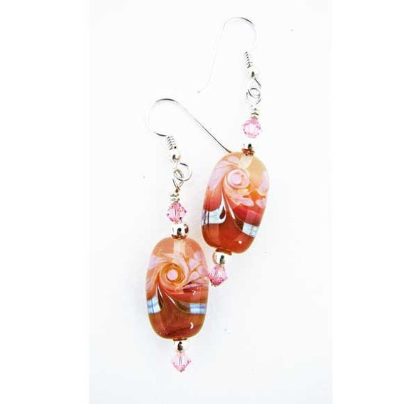 Handmade Pink and Carnelian Lampwork Glass and Sterling Silver Earrings with Swarovski Crystals and Silver Glass SRA ISGB LE