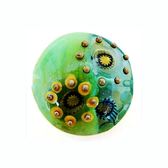 Spring Green Handmade Lampwork Glass Lentil Focal Bead with Silver Glass Murrini and Raised Dots SRA ISGB LE