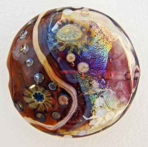 Violet and Pumpkin Handmade Lampwork Glass Lentil Focal Bead w Silver Glass Murrini and Rainbow Dichroic SRA ISGB LE