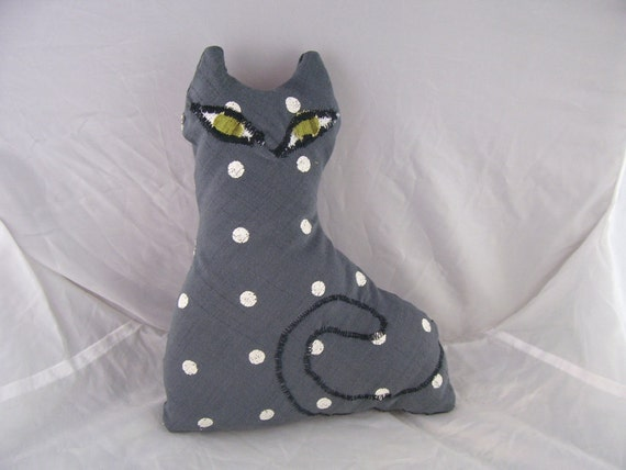 Back to School Clearance Sale 50% off Recycled Art Pillow CAT Made from Reclaimed Fabric Eco-Friendly Filling