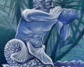 Neptune's Call - original mixed media FREE SHIPPING U.S.A.