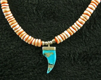 Puca Shell and Kingman Turquoise necklace