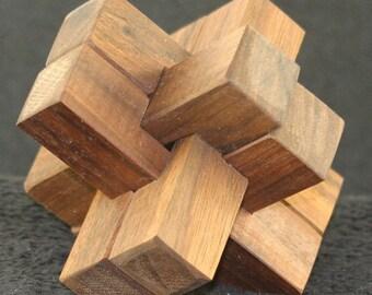 Six piece wooden puzzle