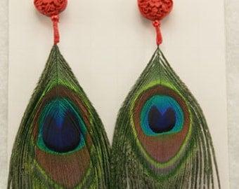 Peacock Eye and Cinabon Ear Rings