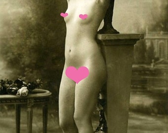 POSED FENCH NUDE  Vintage Photo Reprint Mature
