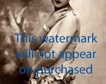 Old VINTAGE Antique SILK DRESS FLAPPER Photo Reprint