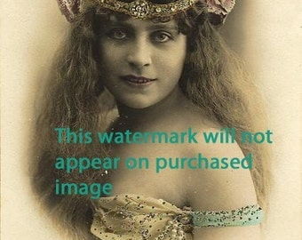 EXOTIC GYPSY w PEARLS Vintage Photo Reprint