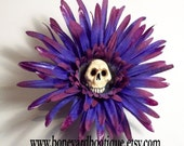 Death Bloom Skull Flower Hair Clip.