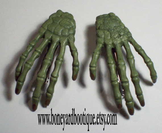 Green Zombie Hand Hair Clips. SALE was 13.00